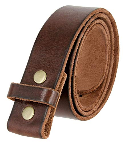 (BS001 Vintage Genuine Leather Belt Strap Without Slot Hole 1.5