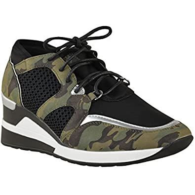 Womens Ladies Hi Top Wedge Trainers Gym Fitness Fashion Sport Camouflage Size UK