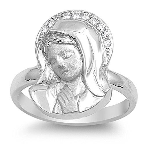 Clear CZ Virgin Mary...
