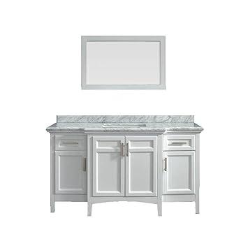 Belle Foret Sassy 60 In Vanity In White With Marble Vanity Top In