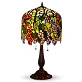 grape tiffany lamp - Table Lamps,Magcolor Tiffany Style Stained Glass Raisin Grape Table Lamp with 16 inches Handmade Lampshade and Brown Round Lamp Base Made of Zinc Alloy,Suitable for Decorating Room