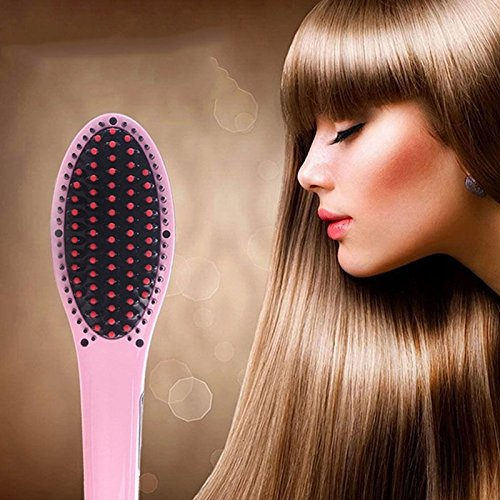 Vetroo Electric Hair Straightening Brush Irons - Temperature Control Heating Ceramic Professional Detangling, Comb Digital Anion Hair Care, Anti-Scald Effective Silky - Pink
