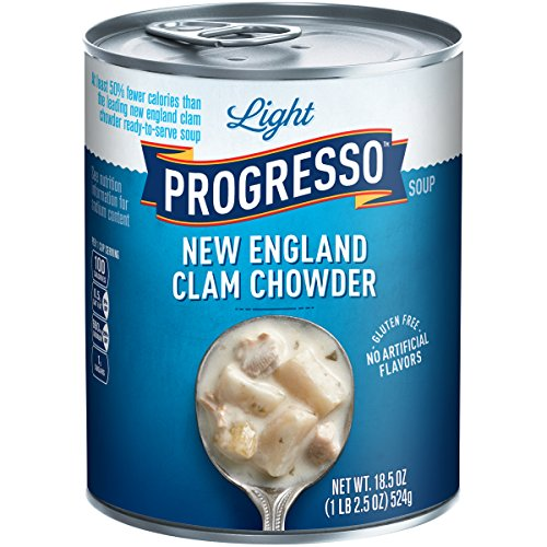 Progresso Light Soup, New England Clam Chowder, 18.5-Ounce Cans (Pack of 12) (Progresso New England Clam)