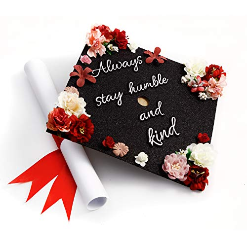 GradWYSE Handmade Graduation Cap Topper Graduation Gifts Graduation Cap Decorations, Always Stay Humble and Kind Black]()