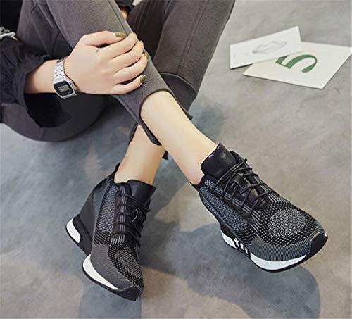 B Exing Up Knit Lace Tacco Primavera donna zeppa nero casual Giunto blu diviso Autunno Sneakers Scarpe Scarpe a Comfort da HBqwAH