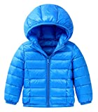Happy Cherry Baby Boys Girls Winter Puffer Down Jacket Kids Solid Color Coat Thin Hoodie Outwear Lightweight Blue Size 110cm
