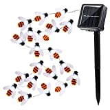 AMZSTAR Honey Bee String Lights, Outdoor Waterproof Solar Decoration Lights 30LED Bumble Bee Fairy Rope Lights for Summer Garden Patio Tree Party (White)