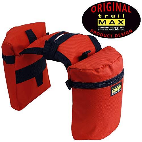 TrailMax Medium Horse Saddlbags for Trail Riding Saddle, Double-Stitched, 600-denier Weather-Resistant Nylon, Orange