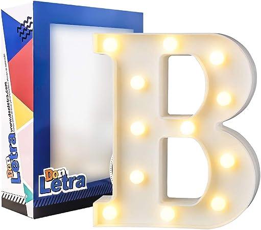 DON LETRA Letras Luminosas Decorativas con Luces LED, Letras del Alfabeto A-Z, Altura de 22cm, Color Blanco - Letra B: Amazon.es: Hogar