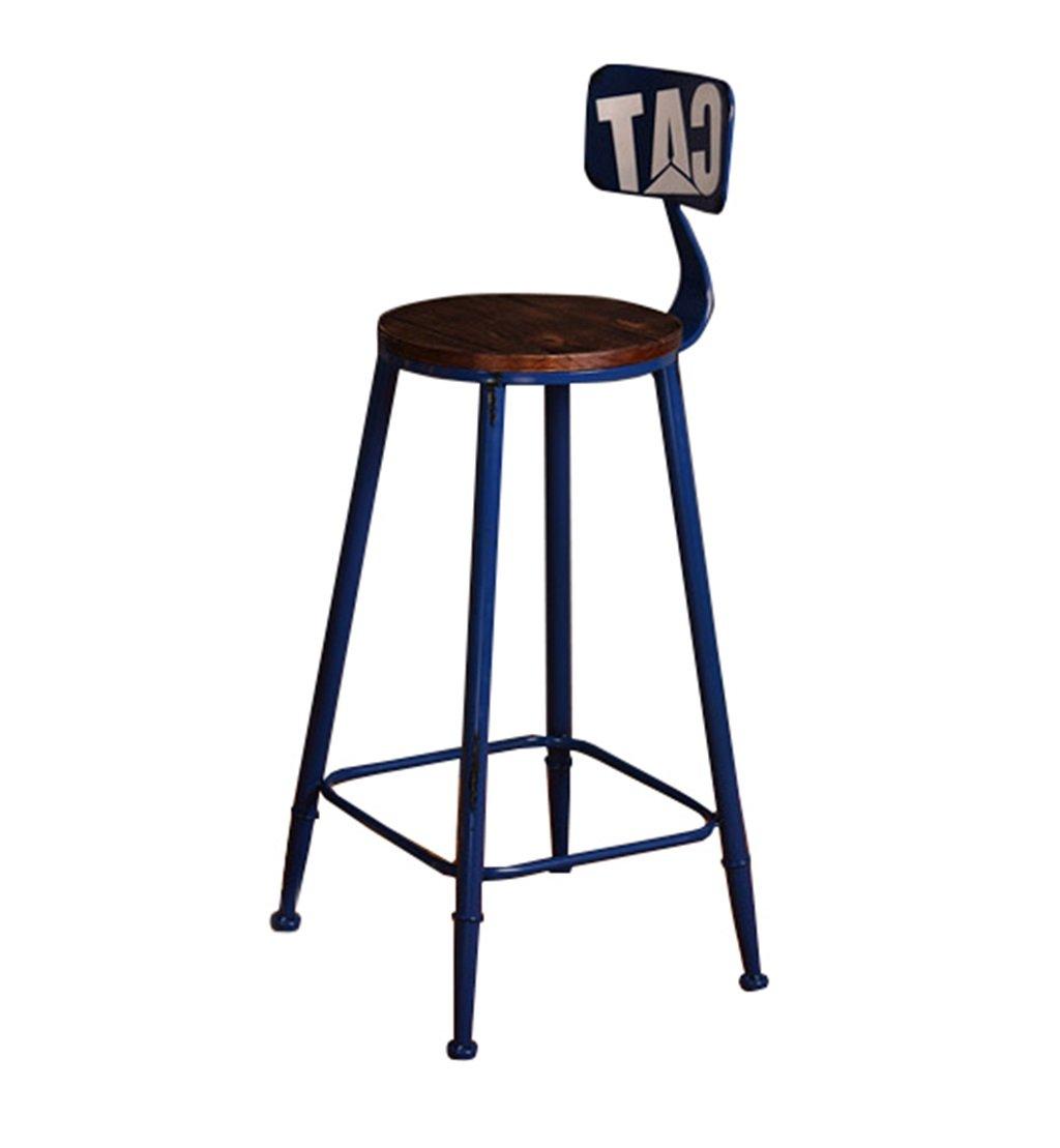 高いスツールバーキッチンダイニングチェア朝食用スツール| Barstool LeisureシートVintage Barスツールレトロインダストリアルデザイン(マルチサイズ) (色 : Blue, サイズ さいず : 75cm) B07F9JHX5P 75cm|Blue Blue 75cm
