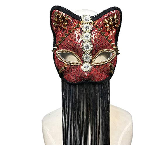 Kangsanli Goth Cat Woman Halloween Party Mask Women Animal Party Masquerade Nightclub Masks Handmade -