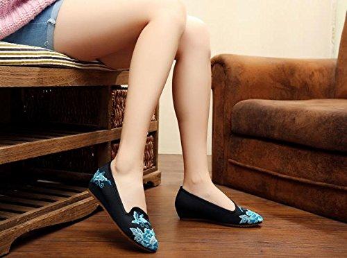 de ¨¦tnico del bordados black tela casual del aumento femenina dentro moda GuiXinWeiHeng zapatos estilo xiuhuaxie tend¨®n lenguado c¨®modo Zapatos xW0nnSUzq