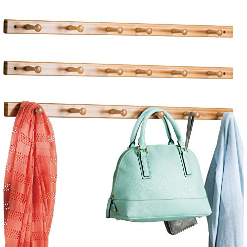 mDesign Decorative Bamboo Wall Mount 6 Hook Storage Organizer Rack for Coats, Hoodies, Hats, Scarves, Purses, Leashes, Bath Towels & Robes - 3 Pack - Natural Wood Finish (Rack Natural Wall Wood)
