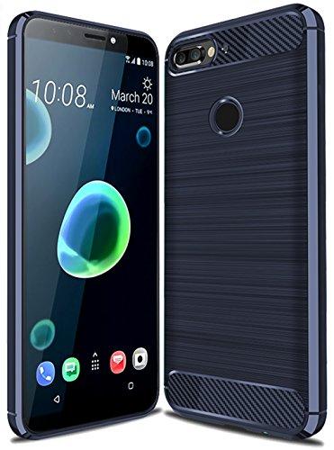 HTC Desire 12 Plus Case, HTC Desire 12+ Case, Sucnakp TPU Shock Absorption Technology Raised Bezels Protective Case Cover for HTC Desire 12 Plus Smartphone (TPU Blue) (Htc Desire T Mobile Phone)