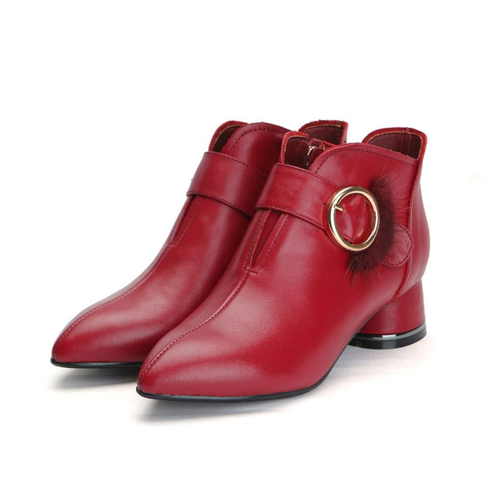 YAN Damen Stiefeletten, Reißverschluss-Stiefeletten mit mittlerem Absatz Herbst Winter Leder Spitze Dicke Absätze Metall Gürtelschnalle Stiefelies