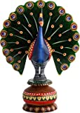 JaipurCrafts Dancing Peacock Painted Showpiece - 10.2 cm (Wood, Multicolor)