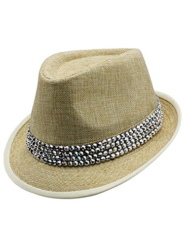Rhinestone Fedora (Luxury Divas Beige Fedora Hat with White Trim & Rhinestone Band)