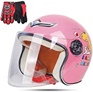 Kids Motorcycle Helmet, Childs Motorbike Half Helmet Glove for Children Electric Bike Cycle Skateboard Scooter