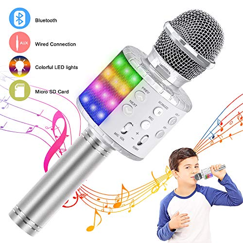 Verkstar Wireless Bluetooth 4 in 1 Karaoke Microphone, Portable Handheld Karaoke Machine Speaker Birthday Home Party Player with Record Function Christmas for Android & iOS All Devices (Silver)