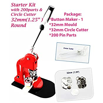 Image of ChiButtons (32mm(1.25' Kit)) Button Maker + 32mm Mould + 200 pin Parts + Circle Cutter Metric System Crafts