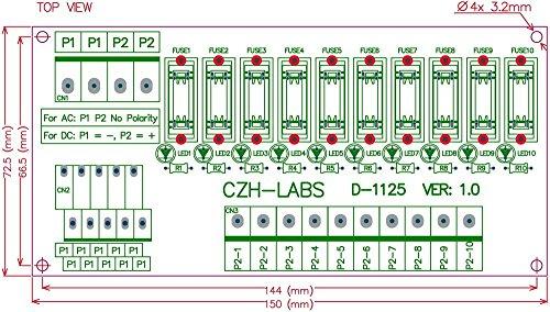 Electronics-Salon Panel Mount 10 Position Power Distribution Fuse Module Board, For AC110V . by Electronics-Salon (Image #4)