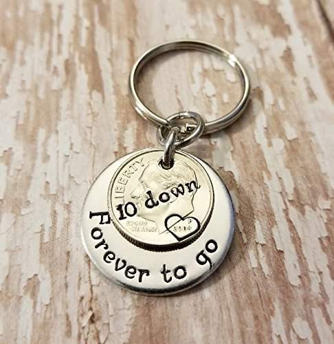 10 Down and Forever To Go on a Silver Dime 10th Anniversary Key Chain Gift for Him or Her