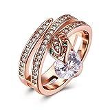 Epinki White Gold Plated Women Silver Cubic Zirconia Snake Shape Bridal Wedding Ring Size 8 Women Accessories