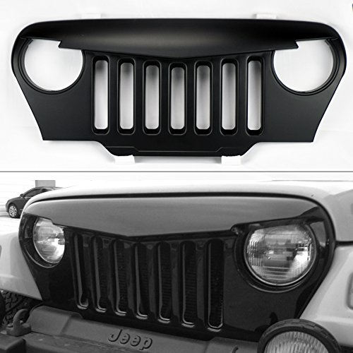 Jeep Wrangler TJ 97-06 Angry Bird Style Mesh Matte Black Front Hood Bumper Grill