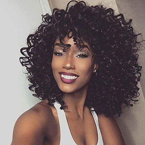 "14"" Short Black Kinky Curly Wig Jet Black Synthetic Afro Curly Hair Wigs for Black Woman …"