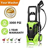 Hurbo Electric Pressure Washer 3000PSI Power Pressure Washer Machine 5 Interchangeable Nozzles, 1800W Rolling Wheels,1.80 GPM (US Stock) Review