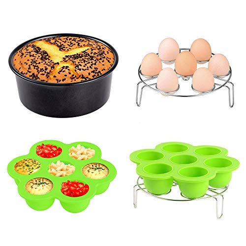 3pcs Instant Pot Accessories Set Kit Silicone Egg Bites Mold+Egg Steamer Rack+7inch Cake Pan Mold Insert Pans for 5 6 8 Quart Pressure Cooker Accessory by Sonyabecca