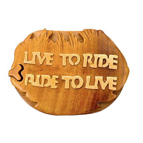 Handmade Wooden Art Intarsia TRICK SECRET Live to Ride Ride Harley Motorcycle to Live Puzzle Trinket Box (3399) (g2)
