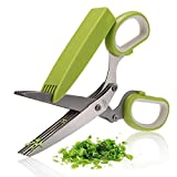 BangShou Herb Scissors,5 Layers Blades Stainless Steel Heavy Duty Kitchen Shears with Cleaning Comb And Protective Cover
