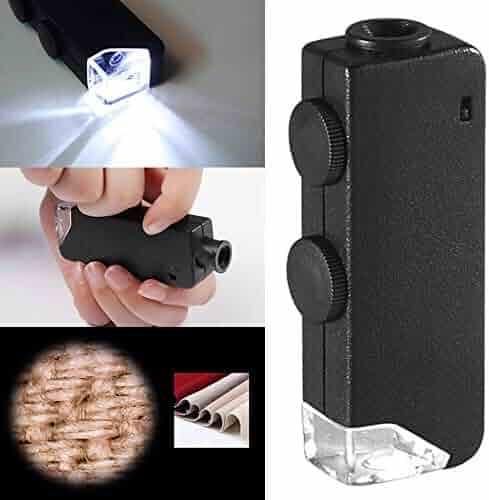 Rubysam Mini Pocket LED Handheld Adjustable Power Zoom 60-100x Microscope Loupe