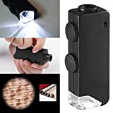 Mini Pocket 60-100X Microscope Loupe LED Handheld Adjustable Magnifying for Gems Jewelry Coins Stamps (Black)