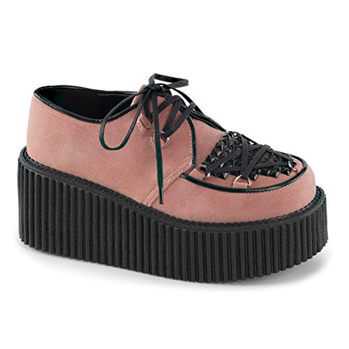 Womens Pink Shoes Vegan Suede Creepers Shoes Lace Up Black Studs 3 In Platform Size: 10