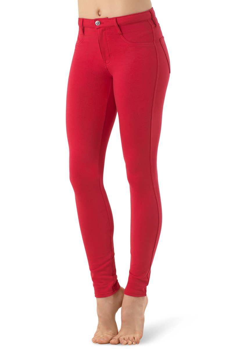 Balera Jeggings Womens Denim Leggings For Dance Girls Pants With Mid Rise Fit and Bright Colors Red Adult Medium by Balera