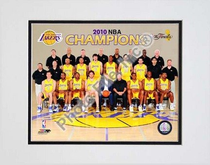 Los Angeles Lakers Team Sit Down with 2009 - 2010 NBA Champions Overlay (#31) Double Matted 8'' x 10'' Photograph (Unframed)