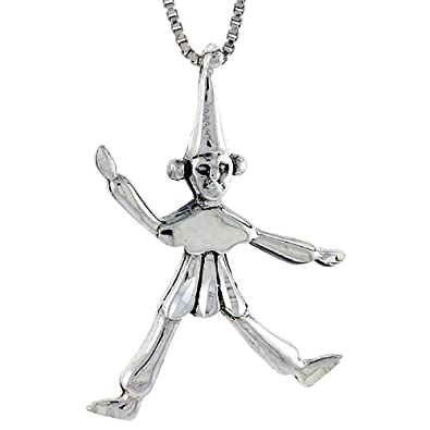Amazon sterling silver clown pendant 1 14 inch tall jewelry sterling silver clown pendant 1 14 inch tall aloadofball Gallery