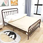 HOMERECOMMEND Metal Bed Frame Queen Size Steel Slats Platform Base Box Spring Replacement Foundation with Headboards…