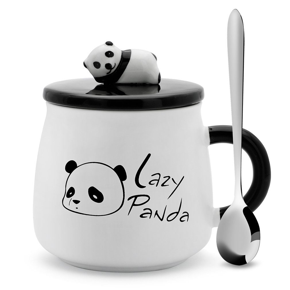 Teagas Cute Black & White Lazy Panda Coffee Ceramic Mug with Stainless Steel Spoon, Perfect Gift for Friend Teacher Wife