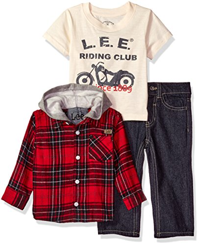 Lee Baby Boys' Plaid Flannel Hooded Overshirt 3 Piece Pant Set, Roe Wash, 12 Months