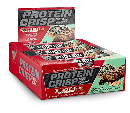 BSN Protein Crisp Bar by Syntha-6, Cold Stone Creamery Flavor-Mint Mint Chocolate Chip-Low Sugar Whey Protein Bar, 20g of Protein, 12 Count (Packaging may ()