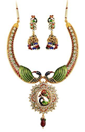 Touchstone Indian Bollywood Ethnic Peacock Theme Exotic Jaipur meenakari Enamel White Rhinestone Bridal Designer Jewelry hasli Necklace Set for Women in Gold Tone