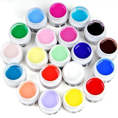W.Air Lot de 12pots de gel de construction UV acrylique pour nail art Multicolore