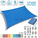 Cheap Patio Paradise 17′ x 22′ Sun Shade Sail with 8 inch Hardware Kit, Blue Rectangle Patio Canopy Durable Shade Fabric Outdoor UV Shelter Cover – 3 Year Warranty – Custom Size Available