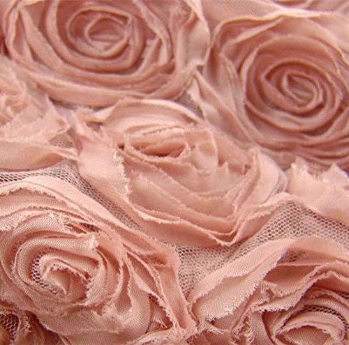 Chiffon Rosette (FidgetGear 3D Rose Lace Bridal Fabric Rosette Chiffon Fabric 51
