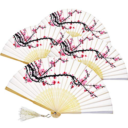 Zonon Handheld Floral Folding Fans Hand Held Fans Silk Bamboo Fans with Tassel Women