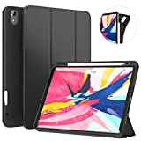 Ztotop Case for iPad Pro 11 Inch 2018 with Pencil Holder- Lightweight Soft TPU Back Cover and Trifold Stand with Auto Sleep Wake - Support 2nd Gen iPad Pencil Charging - Black
