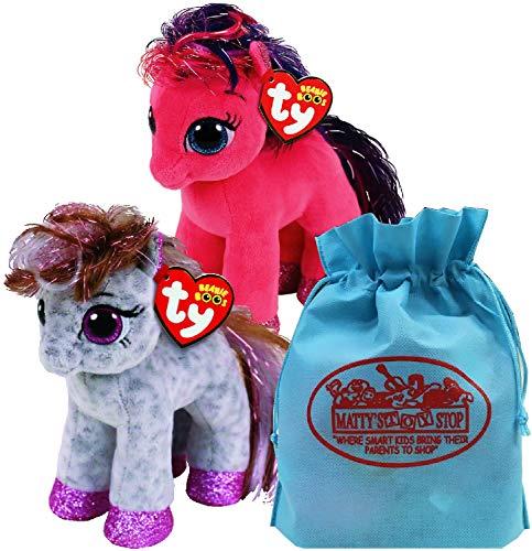 Ty Beanie Boos Ponies Ruby & Cinnamon Gift Set Bundle Includes Bonus Matty's Toy Stop Storage Bag - 2 - Beanie Ty Baby Ruby